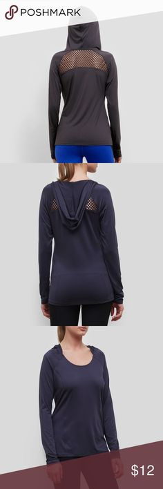 Kenneth Cole Netting Long Sleeve Hoodie Slate grey long sleeve hooded tee shirt w/scoop neckline and moisture wicking details.  Mesh netting for added ventilation.  Anti chaff flatlock seams Reflective logo.  Poly/spandex jersey & power mesh Kenneth Cole Tops Sweatshirts & Hoodies