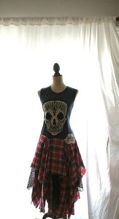 Punk Kleid Herbst Tartan Plaid reservierte von TrueRebelClothing