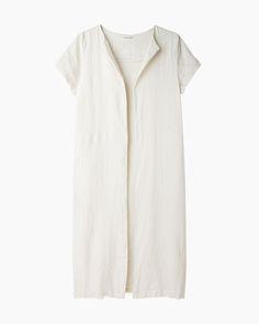 Black Crane Long Linen Coat | La Garçonne