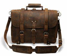 18'' Laptop Messenger Bag - Dark Brown Vintage Style Backpack from Deep Rooted Tree