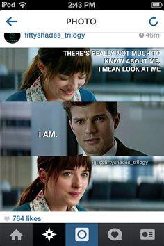 """I mean look at me"" * "" I am"" Fifty Shades Of Grey / Movie Trailer / Jamie Dornan / Christian Grey / Dakota Johnson / Anastasia Steele / Sexy / Cant wait #FSOG #2015"