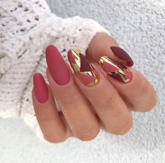 Matte Nails Acrylic, Red Matte Nails, Chic Nails, Stylish Nails, Swag Nails, Pink Tip Nails, Fancy Nails, Pretty Nail Colors, Pretty Nails