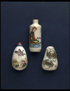 Porcelain snuff bottles painted in enamel colours, China 1821-1850. Snuff was powdered tobacco mixed with aromatic herbs and spices.