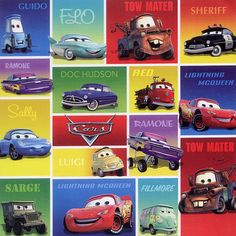 Disney Cars Collection Cars 12 x 12 Scrapbook Paper by Sandylion Disney Cars Party, Disney Cars Birthday, Cars Birthday Parties, Car Birthday, Disney Cars Characters, Disney Pixar, Disney Scrapbook, Scrapbook Paper, Birthday Scrapbook