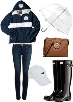 rainy mardi gras parade by cseelhorst featuring Vineyard Vines ❤ liked on PolyvoreRain jacket / AG Adriano Goldschmied super skinny jeans, $140 / Hunter wellington boots, $130 / MICHAEL Michael Kors brown cross body purse / Clear umbrella / Vineyard Vines hat
