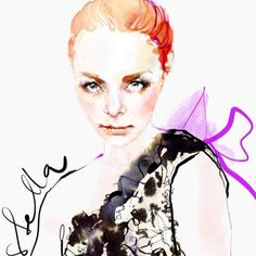 Watercolor Illustration, Fashion Illustration & Textiles by Marta Spendowska VERYMARTA, Polish/American artist. Commission by email. Abstract Watercolor Art, Abstract Portrait, Watercolor Illustration, Watercolor Paintings, Illustration Fashion, Watercolor Fashion, Watercolor Portraits, Fashion Show Poster, Fashion Show Themes