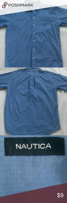 """MEN BLUE NAUTICA SHIRT SIZE """"15 1/2"""" - 100% Cotton.  - Imported.  - Machine wash.  - Button-front styling with a buttoned collar.  - Long sleeves with ajustable double-button cuffs. - Pocket at chest. - A classic fit keeps things comfortable and timeless. Nautica Shirts Casual Button Down Shirts"""