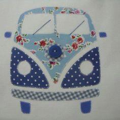 Kombi patchwork vintage _ going to make a bigger version for a quilt Sewing Appliques, Applique Patterns, Applique Quilts, Embroidery Applique, Patchwork Quilting, Quilt Patterns, Machine Embroidery, Sewing Patterns, Applique Ideas