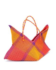 These recycled plastic totes are made by first melting bits of used plastic items (such as plastic bottles) and drying them in the sun. They are then turned into plastic strands that are dyed and the women of the SPEED Trust cooperative tightly hand weave the strands into these colorful and fun, yet very practical bags. Take your star shopping, to the beach, on a picnic, or use it as an eco-friendly home decorating accent and organizer.