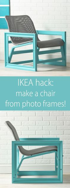 This amazing IKEA hack is a chair constructed with two large wood photo frames! The base is an IKEA Nolmyra chair. Learn how to make this unique piece of furniture.