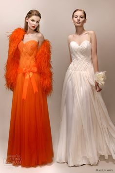 max chaoul 2013 bridal faye wedding dress color orange white