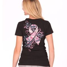 Pink ribbon t shirt designed by Katydid for breast cancer awareness.