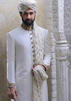 amazing off white pakistani mens wedding sherwani barat dresses 2017 with turban