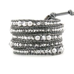 Silver Pearl & Crystal Beads on Gray Leather 5 Wrap Bracelet Hand Woven Jewelry #CHAN #Bangle