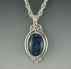 Sterling Silver Azurite/Malachite Pendant by DenimAndDiaJewelry