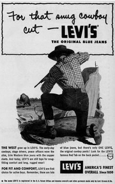Levi's jeans advert via Boy's Life magazine, 1952
