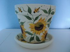 Hand painted Flower Pot & Saucer: 6  Sunflower by RaindropsNRoses