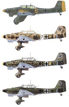 Die Ju 87 mit ihrem charakteristischen Knickflügel, konstruiert von Dipl.-Ing. Hermann Pohlmann, ging als Sieger der Ausschreibung für ein zweisitziges 'Schweres Stuka' hervor, an der sich auch Heinkel mit der He 118 und Arado mit der Ar 81 beteiligt hatten. Die Idee des zielgenauen Angriffs mit einer großen Bombe wurde vor allem von dem damals als Inspekteur der Jagd- und Sturzkampfflieger zur Luftwaffe gekommenen Oberst Ernst Udet vertreten. Der Erstflug der Ju 87 V1 am 17.Sept.1935.