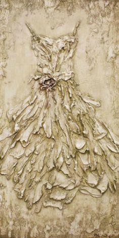 Rachel Schwind - Her Dress - Plaster & Acrylic on Panel - 47in. x 24 in. - sold