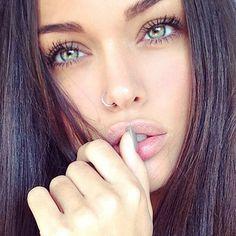 beautiful, beautiful eyes, beauty, black hair, color, cute, eye, eyes, fashion, girl, girls, girly, green, green eyes, hair, happiness, happy, lady, long hair, loves, make up, makeup, mascara, nails, piercing, pink, smile