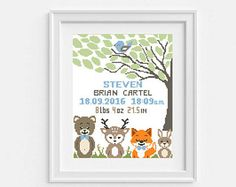 Baby cross stitch pattern Personalized Modern Birth announcement DIY pattern Woodland Animal Fox Deer Bear PDF printable Counted embroidery