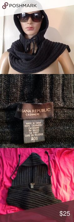 Banana republic cashmere scarf/ hood combination OSFA Adorable and so soft! 100% cashmere by banana republic. This gorgeous charcoal gray scarf comes with an attached hood with two ties(tassels on the end) to secure it and make sure you stay warm and comfortable. Banana Republic Accessories Scarves & Wraps