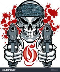 stock-vector-gangster-skull-with-bandana-and-pistols-334232426.jpg (1322×1600)