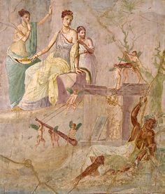 fresco of Hercules and Omphale, from Pompeii, first century CE The Lydian Queen Omphale holding a leaf-fan, looks down at Hercules with a bemused expression; her tunic slips off of her left shoulder in the manner of Venus. She is flanked by two young girl