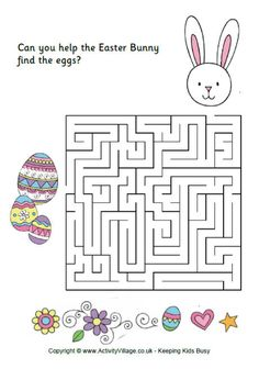easter fun for kids, easter bunny maze , easter activities , eggs , free printables