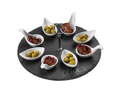 Set de 8 cucharas para aperitivos con bandeja de pizarra