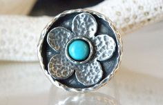 New Bohemian Sterling Silver Sleeping Beauty Turquoise Flower Ring Size 6.5 #Didae #Solitaire #BohemianJewelry #DaisyRing #ModernFlowerRing #FlowerGirlJewelry