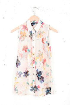 Aloha Blouse (Parc Boutique, $38.00) - flowy, summer, colorful, breezy sleeveless button up, floral, casual.