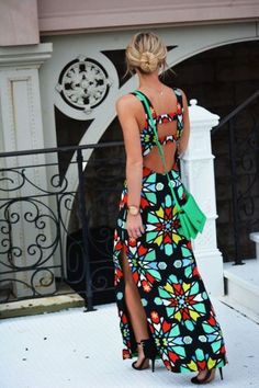 open back fashions printed maxi