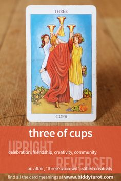 Three of Cups #tarotcardmeaning learn more athttps://www.biddytarot.com/tarot-card-meanings/minor-arcana/suit-of-cups/three-of-cups/