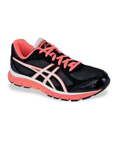 Take a look at this Black & Neon Coral Gel-Flash Running Shoe - Women by ASICS on #zulily today!