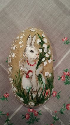 Victorian Easter Bunny Spring hand-painted by EmmysHeartsnCrafts