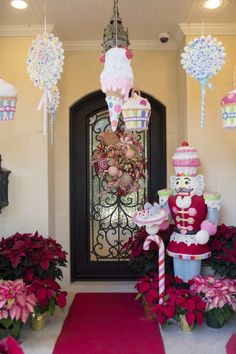 Decorating Your Front Porch! I firmly believe the front porch is an extension of the house! It sets the tone for everything inside! Candy Land Christmas, Candy Christmas Decorations, Christmas Porch, Christmas Gingerbread, Pink Christmas, Christmas Holidays, Christmas Crafts, Christmas Ideas, Gingerbread Village