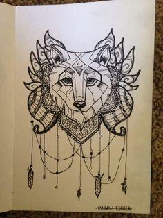 """By: Hannah Eicher/ """"geometric wolf"""""""