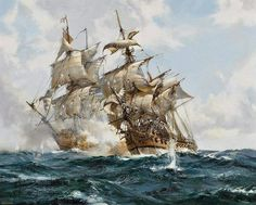 """art-and-things-of-beauty: """" Life at sea painted by Montague Dawson [British Painter, """" Montague Dawson, Bateau Pirate, Old Sailing Ships, Ship Of The Line, Ship Drawing, Ship Paintings, Wooden Ship, Nautical Art, Jolie Photo"""