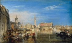 Oil on canvas. Free art print of Bridge of Sighs, Ducal Palace and Custom-House, Venice: Canaletti Painting by Joseph Mallord William Turner. Joseph Mallord William Turner, Grand Canal, Art Romantique, Turner Watercolors, Turner Painting, English Romantic, Full Hd Pictures, Tate Gallery, Free Art Prints