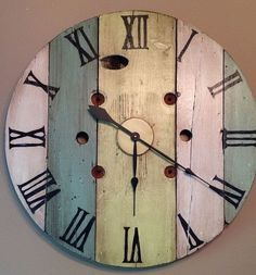 Reserved For Nicole- Vintage wood spool wall clock, hand painted, rustic… Pallet Clock, Pallet Art, Pallet Wood, Pallet Ideas, Pallet Crafts, Wood Crafts, Mur Diy, Wall Clock Hands, Clock Wall