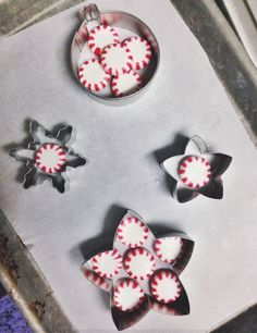 ~Edible Peppermint Candy Decorations~  Oven: 250* - 275* Cook Time: 2-5 mins. Metal Cookie Cutters Pam Spray Peppermint Candy...Or any *Hard Candy Parchment Paper Cookie Sheet Thin Satin Ribbon Toothpicks.....