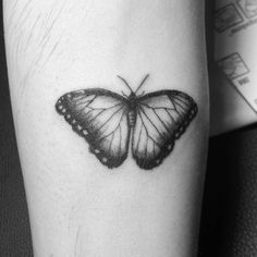 Butterfly tattoo on arm by Carlota Hernandez (@charlotte_tattoing)