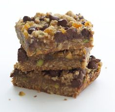 Apricot, Pistachio & Chocolate-Chip Bars:  I've made these several times for one of my clients.  It's now their favorite dessert...a 9x13 pan vanishes in less than 24 hours (and it's a family of FOUR!).