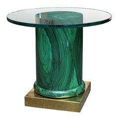 Sleek Modern Classic Malachite Column Side Table