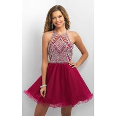 Blush 11174 Homecoming Dress Mini Halter Sleeveless ($420) ❤ liked on Polyvore featuring dresses, formal dresses, sapphire, sparkly homecoming dresses, purple dress, blush dress, formal cocktail dresses and homecoming dresses