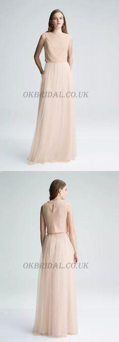 Two Pieces Bridesmaid Dress, Lace Top Bridesmaid Dress #okbridal