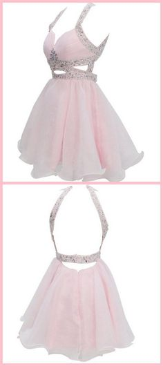 Pearl Pink Homecoming Dress, Chiffon Homecoming Dress, Backless Party Dress, Open Backs Sweet Dress on Storenvy Hoco Dresses, Dance Dresses, Homecoming Dresses, Formal Dresses, Sweet 16 Dresses, Pretty Dresses, Beautiful Dresses, Outfit Chic, Dress Backs