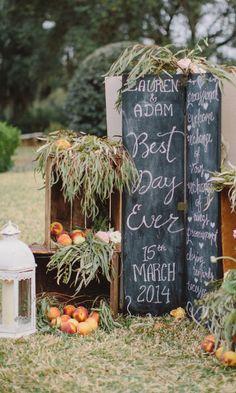 Chalkboard sign as part of larger wedding decor arrangement. | Jeremy Harwell photo