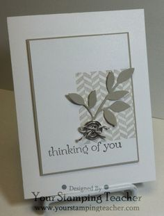 handmade card ... clean and simple layout ... shades of gray ... die cut leafy branch ... button with string ... like it ... Stampin' Up!